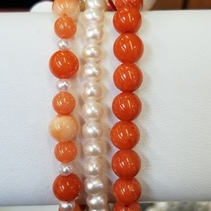 Jewelry - 3pc Stretch Brac Orange Mtn Jade & White Pearls
